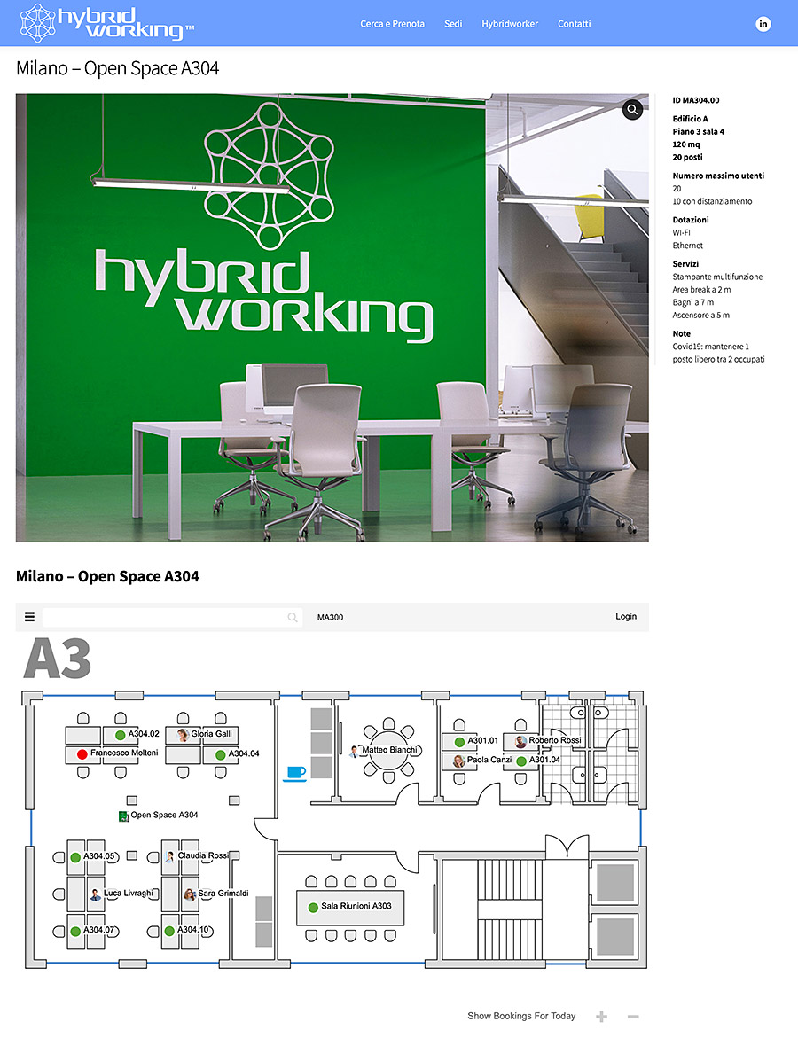 Hybrid Working interface example